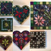 Some examples of recent workshop mosaics created in a day.
